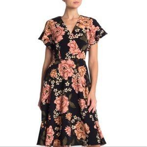 Spense Floral Ruffle Sleeve Dress NWT